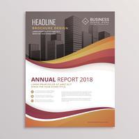 Plantilla de vector de diseño de folleto abstracto ondulado flyer para negocio