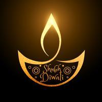artistieke diwali festival gouden diya achtergrond