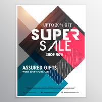 Plantilla de folleto promocional súper venta con geométrico abstracto