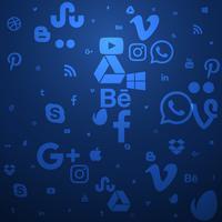 ícones de mídia social fundo azul