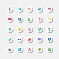 icônes de médias sociaux sertie d'ombre