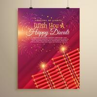 Diseño de plantilla de tarjeta de felicitación de diwali con galletas y fuegos artificiales