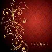 golden floral on red background