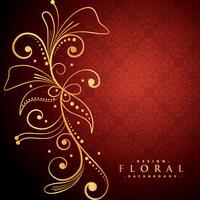floral doré sur fond rouge