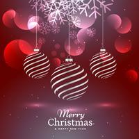 glänzende elegante Dekoration mit drei Weihnachtskugeln auf rotem Hintergrund