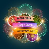 Cartel de banner de venta de mega diwali con fuegos artificiales