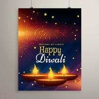 Flyer Design für Diwali Festival. Diwali-Grußkarte