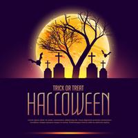halloween poster with grave and tree