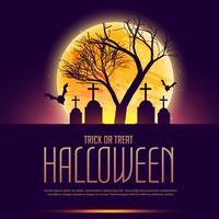 cartel de halloween con tumba y arbol