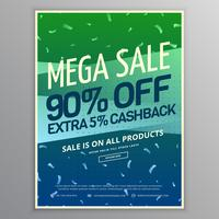 mega sale brochure template in green and blue colors with conffe