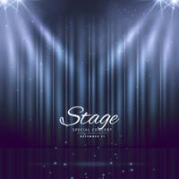 sfondo blu del palcoscenico con tende chiuse