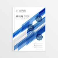 annual report template design with blue abstract shapes, brochur