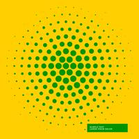 Fondo amarillo con círculo verde haftone