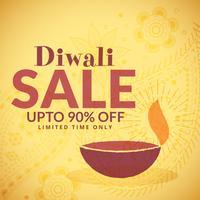 Diwali vente bannière affiche avec diya