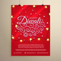 diwali flygblad inbjudan mall för festivalen