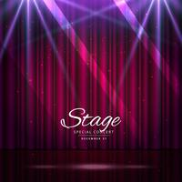 palco com cortinas fechadas e holofotes