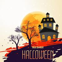 Fondo festival de halloween con casa y árboles