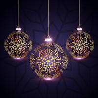 vacker tre gyllene julbollar design