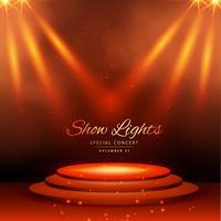 visa spotlights med podiumbakgrund