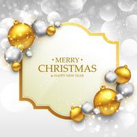 Plantilla de tarjeta de felicitación de Navidad feliz con oro y plata chri