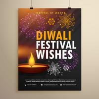 Diseño de plantilla de flyer festival indio diwali saludo
