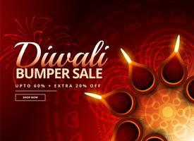 Bono de venta de diwali con hermosa decoración de diya.