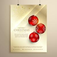 christmas festival flyer template greeting card with hanging red