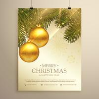 lindo modelo de panfleto de festival de Natal com bolas e folhas