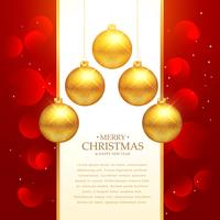 vacker röd bakgrund med guld jul bollar dekoration