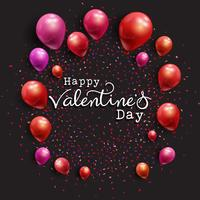 Valentine's Day background with balloons and confetti