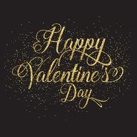 Gold glitter Valentine's day text vector