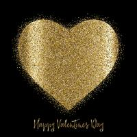 Valentine's Day background with gold glittery heart vector