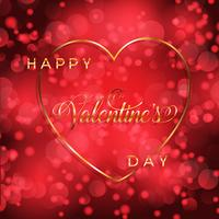 Valentine's Day background with gold heart and lettering  vector