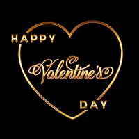 Gold Valentines day heart background with decorative text