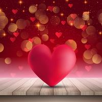 Heart on wooden table on bokeh lights background