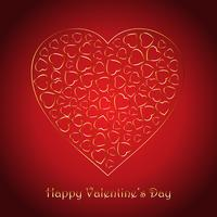 Fondo de San Valentín con diseño decorativo de corazones dorados.