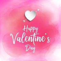 Valentine's day background with watercolour texture  vector