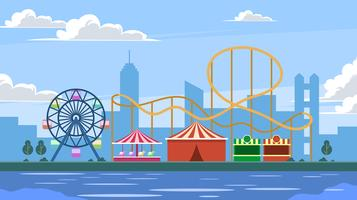 Amusement Park With Rollercoaster In The City Vector