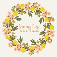 Vector Floral and Lemons Wreath