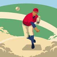 Baseball Pitcher Throws The Ball Illustration