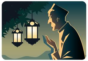 Praying Man at Aidil Fitri Vector