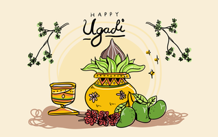 Ugadi Background Hand Drawn Vector Illustration