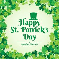St. Patrick's Day Background Template With Falling Clover Leaves Illustration vector