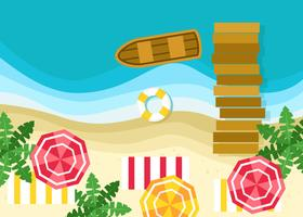 Summer Beach in Top View Vector