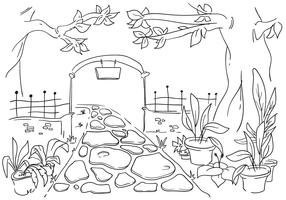 magical garden gate line art illustration