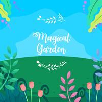 Tulipanes en el jardín mágico Vector libre