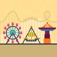 Flat Roller Coaster och Theme Park Vector Illustration