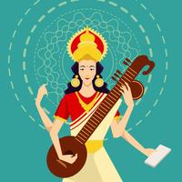 Saraswathi Devi Illustration Vector