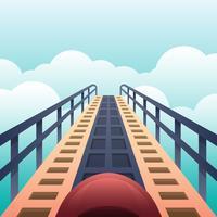 Hohe hohe Ansicht über eine Achterbahn, die unten die Schleifen betrachtet, die bereit sind, Illustration unten zu gehen