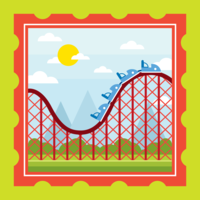 Rollercoaster Postage Illustration